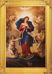 The novena to Our Lady Undoer of Knots was happening during his birth, so boy oh boy did I as Mama Mary for her help.  I brought this image to my delivery room.  Thanks be to God for Nuestra Madre.  She is my help.